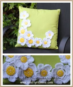 crochet and button flowers