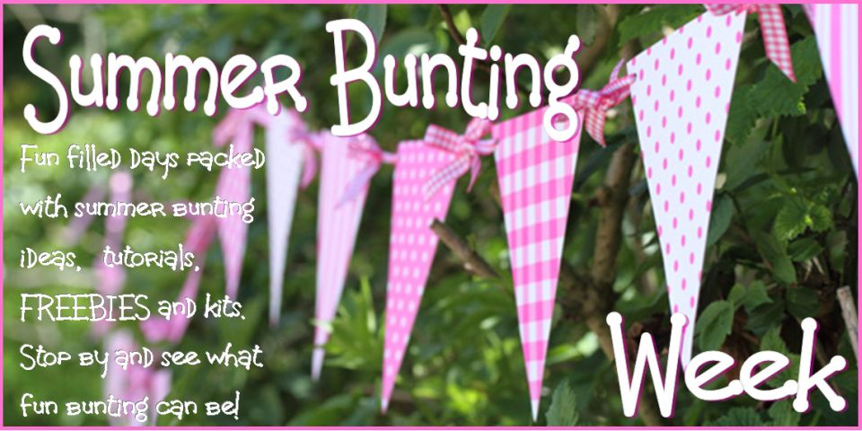 summer bunting with gigham ribbon