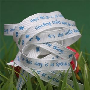 Animal Cuddles Ribbon - Blue Smile messages
