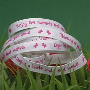 Animal Cuddles Ribbon - Pink Smile messages