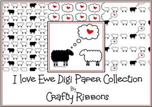 I love Ewe Ribbon - Digi Papers
