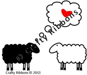 I love Ewe Ribbon - Couple Digi Stamp
