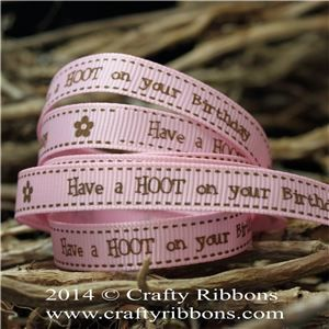Spring Owl Ribbon - Birthday Pink