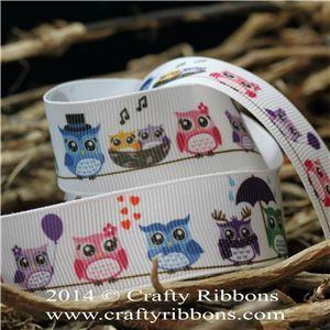 Spring Owl Ribbon - Owls Coloured