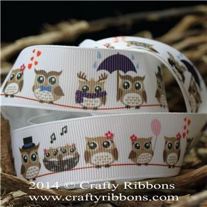 Spring Owl Ribbon - Owls Brown