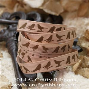 Vintage Butterflies Ribbon - Birds Latte