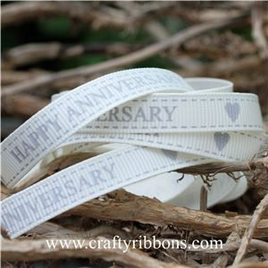 Wedding Owl Ribbon - Anniversary Bridal White