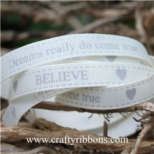 Wedding Owl Ribbon - BELIEVE Bridal White