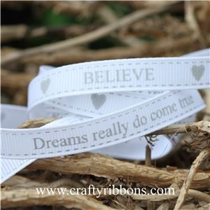Wedding Owl Ribbon - BELIEVE White