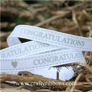 Congratulations Ribbon - White