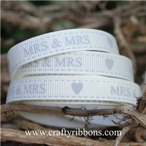 Wedding Owl Ribbon - Mrs & Mrs Bridal White