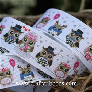 Wedding Owl Ribbon - Owls White