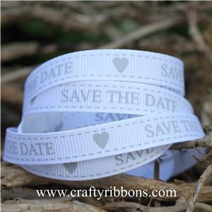 Wedding Owl Ribbon - Save the Date White