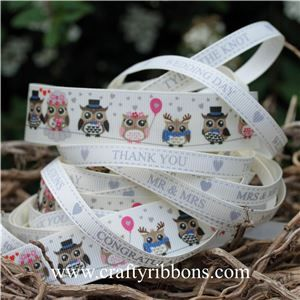 Wedding Owl Ribbon - WANT IT ALL Bridal White