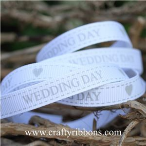Wedding Owl Ribbon - Wedding Day White