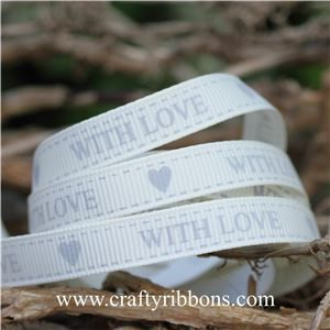 Wedding Owl Ribbon - With Love Bridal White