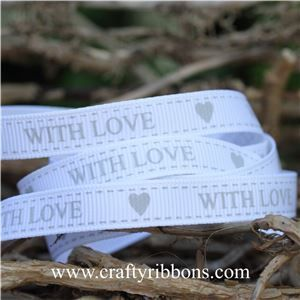 Wedding Owl Ribbon - With Love White