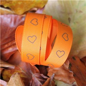 Autumn Leaves Ribbon - 15mm Orange/Brown Hearts
