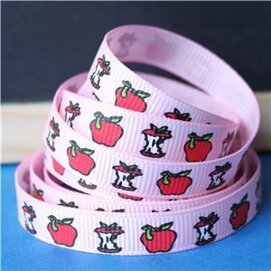 Back to School Ribbons - 10mm Apple & Worm/Pink
