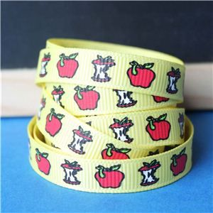 Back to School Ribbons - 10mm Apple & Worm/Yellow