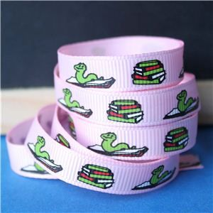 Back to School Ribbons - 10mm Book Worm/Pink