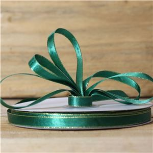 Basics 2 Go Satin Ribbon - 9mm Gold Edge Green