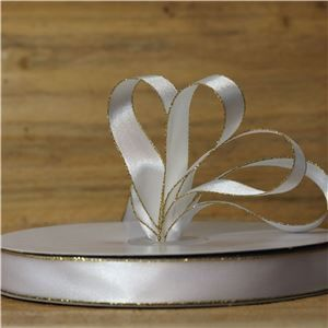Basics 2 Go Satin Ribbon - 15mm Gold Edge White
