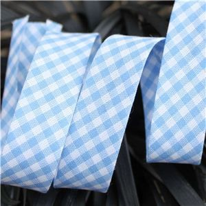 Bias Binding Gingham - Lt Blue