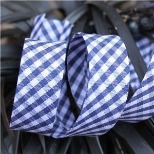 Bias Binding Gingham - Navy