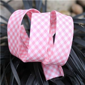 Bias Binding Gingham - Pink