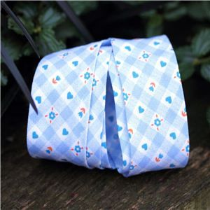Bias Binding Flowers - Blue Check