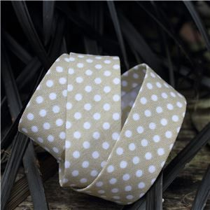 Bias Binding Polka Dots - Beige/White