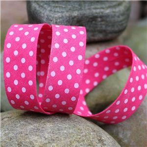 Bias Binding Polka Dots - Shocking/White