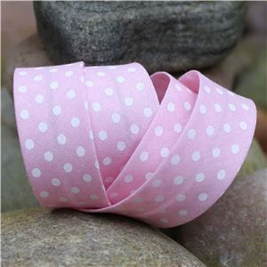 Bias Binding Polka Dots - Pink/White