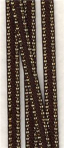 Bling Gold Edge Ribbon - Brown