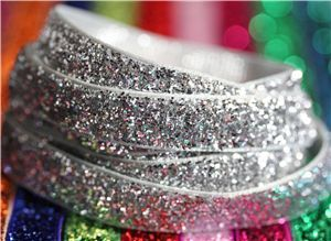 Bling Velvet Ribbon - Silver Grey
