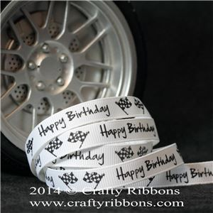 Car Truck Ribbon - Happy Birthday White