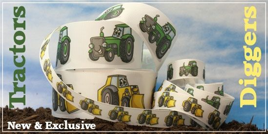 tractors and digger ribbon