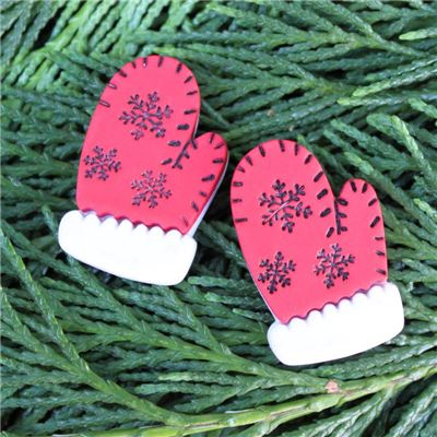 Christmas Button - Mittens Red