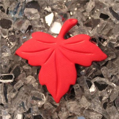 Button - Maple Leaf Red