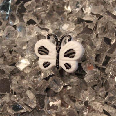 Button - White Butterfly