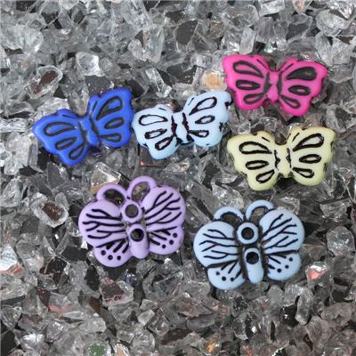 Button - Assorted Colours Butterfly