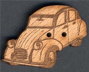 Wood Button - Car