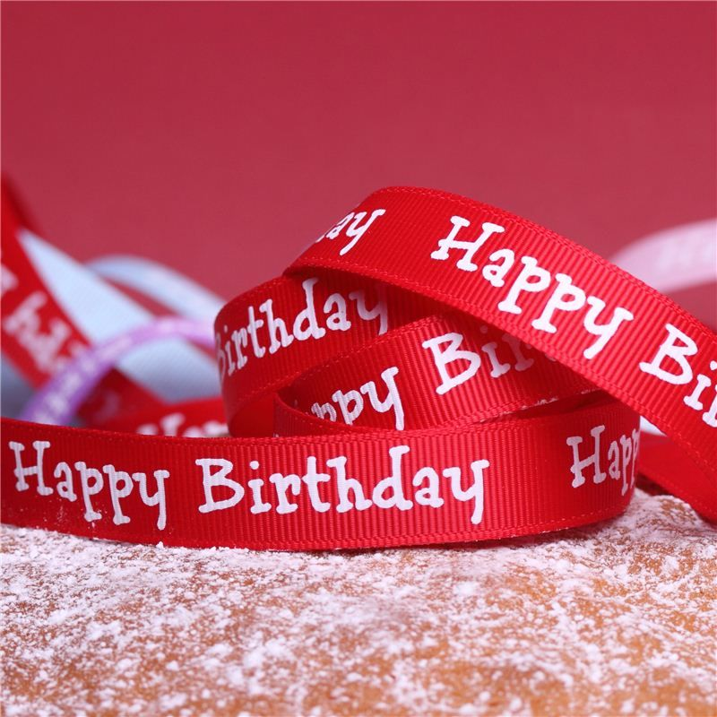 Cake Ribbons Happy Birthday Red