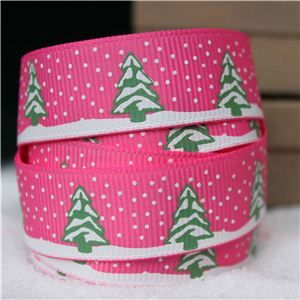 Go Grosgrain - 15mm Snow Trees /Hot Pink