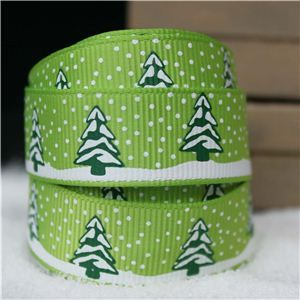 Go Grosgrain - 15mm Snow Trees /Lime