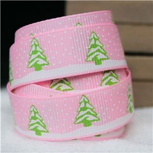 Go Grosgrain - 15mm Snow Trees /Pearl Pink