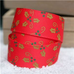Go Grosgrain - Holly Red/Gold