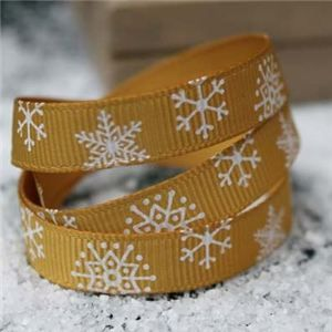 Go Grosgrain - 9mm Snowflakes Gold