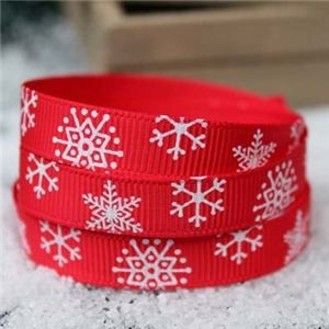 Go Grosgrain - 9mm Snowflakes Red